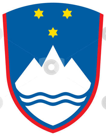 Slovenia Coat of Arms stock photo, Slovenia coat of arms, seal or national emblem, isolated on white background. by Martin Crowdy