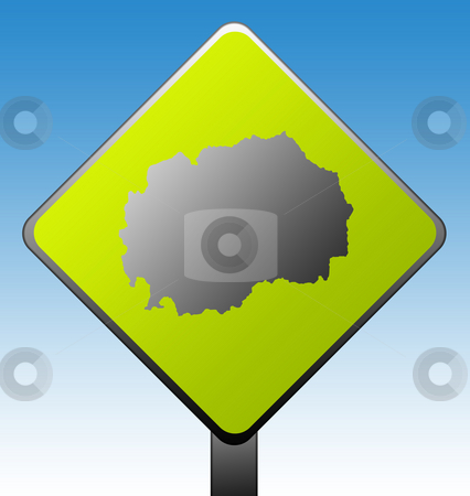 Macedonia road sign stock photo, Black silhouetted map of Macedonia on green diamond shaped road sign with gradient blue sky background. by Martin Crowdy