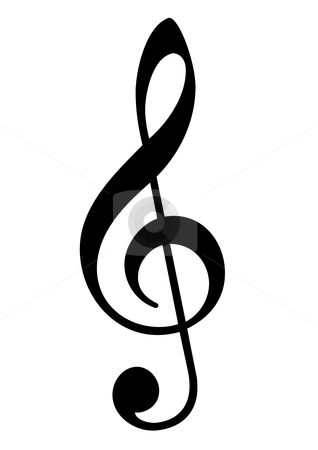 Musical trebel clef stock photo, Musical clef symbol in black, isolated on white background. by Martin Crowdy