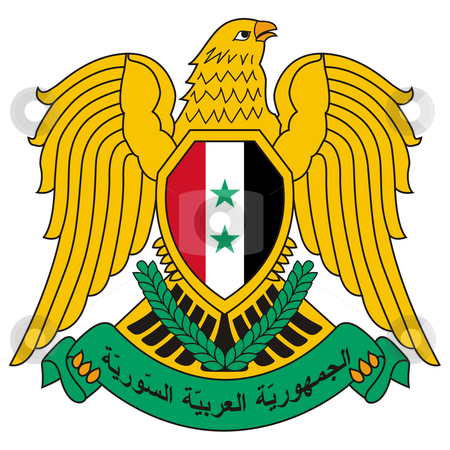 Syria Coat of Arms stock photo, Syria coat of arms, seal or national emblem, isolated on white background. by Martin Crowdy