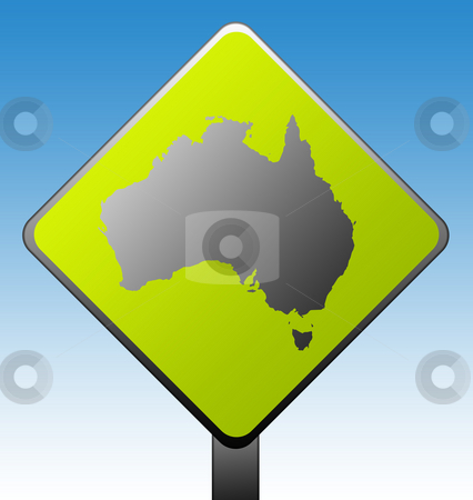 Australia road sign stock photo, Black silhouetted Australia map on green diamond shaped road sign with gradient blue sky background. by Martin Crowdy
