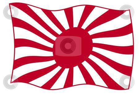 Japanese Rising Sun Flag stock photo, Waving Japanese Rising Sun flag in red, isolated on white background. by Martin Crowdy