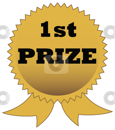 First Prize award stock photo, Fist prize award isolated on white background with copy space. by Martin Crowdy
