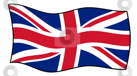 Union Jack flag in wind stock photo, Union Jack flag flying in windy, isolated on white background. by Martin Crowdy