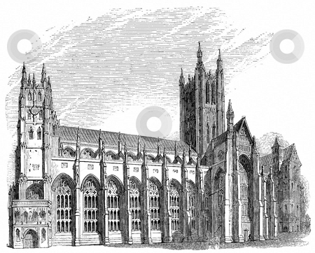Canterbury Cathedral stock photo, Engraving of Canterbury Cathedral viewed from the south side with white background. Sourced from book by Charles Knight,