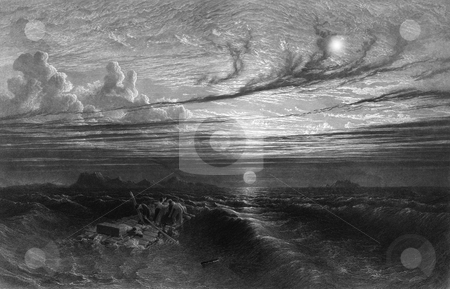 Shipwrecked sailors on life raft stock photo, Engraving of shipwrecked sailors or seamen on makeshift lift raft at sea with sunset after storm. Source, engraved by William Miller in 1847, public domain image by virtue of age. by Martin Crowdy