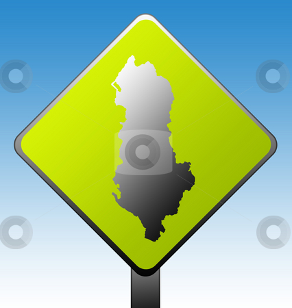 Albania road sign stock photo, Black silhouetted map of Albania on green diamond shaped road sign with gradient blue sky background. by Martin Crowdy