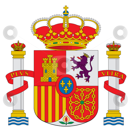 Spain coat of arms stock photo, Spain or Spanish coat of arms isolated on white background. by Martin Crowdy