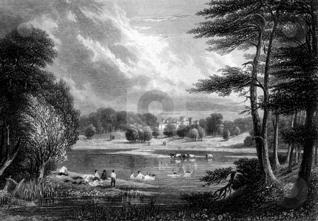 Scone Palace stock photo, Scenic view of Scone Palace with people swimming in foreground lake, Perthshire, Scotland. Engraved by William Miller in 1830, public domain image by virtue of age. by Martin Crowdy