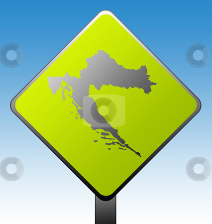 Croatia road sign stock photo, Black silhouetted map of Croatia on green diamond shaped road sign with gradient blue sky background. by Martin Crowdy