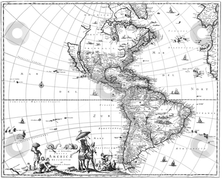 Map of the Americas stock photo, Map of North America and South America showing California as an island. Map first attributed to Claes Visscher of Amsterdam in the 1670's. Sourced from publication in 1671 by Arnoldus Montanus,  by Martin Crowdy