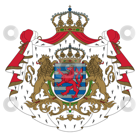 Luxembourg Coat of Arms stock photo, Luxembourg coat of arms, seal or national emblem, isolated on white background. by Martin Crowdy