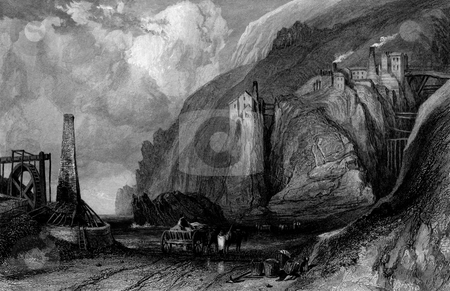 Botallack village tin mine stock photo, Scenic view of Botallack village coastal tin mine, Cornwall, England, Engraved by William Miller in 1836, public domain image by virtue of age. by Martin Crowdy