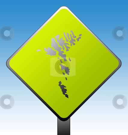 Faroe Islands road sign stock photo, Black silhouetted map of Faroe Islands on green diamond shaped road sign with gradient blue sky background. by Martin Crowdy