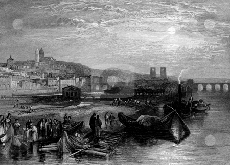 Melun town on Seine River stock photo, Engraving of Melun town or commune on Seine river in the Seine-et-Marne department,  ?le-de-France, Paris, France. Engraved by William Miller in 1835, public domain image by virtue of age. by Martin Crowdy