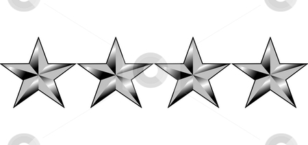 American generals four stars stock photo, Illustration of four stars of America generals rank, isolated on white background. by Martin Crowdy