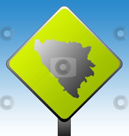 Bosnia and Herzegovina road sign stock photo, Black silhouetted map of Bosnia and Herzegovina on green diamond shaped road sign with gradient blue sky background. by Martin Crowdy