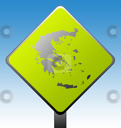Greece road sign stock photo, Black silhouetted map of Greece on green diamond shaped road sign with gradient blue sky background. by Martin Crowdy