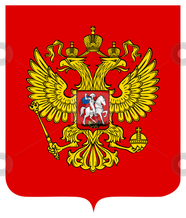 Russia Coat of Arms stock photo, Russia coat of arms, seal or national emblem, isolated on white background. by Martin Crowdy