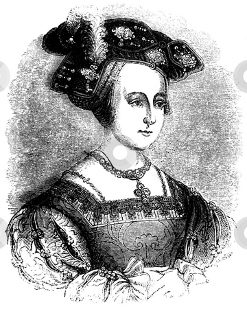 Queen Anne Boleyn stock photo, Engraved portrait of Tudor Queen Anne Boleyn with white background. Soured from 1845 book by Charles Knight,