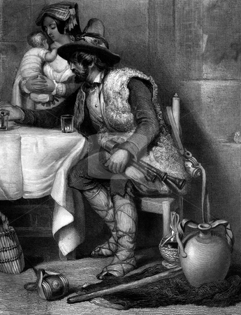 Italian goatherder drinking wine stock photo, Engraving of middle aged Italian goatherder sat sat table with wine, wife and baby in background. Period clothing from Renaissance era. Engraved by William Miller in 1843. public domain image by virtue of age. by Martin Crowdy