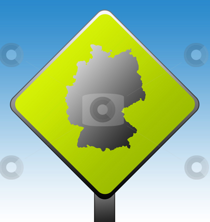 Germany road sign stock photo, Black silhouetted map of Germany on green diamond shaped road sign with gradient blue sky background. by Martin Crowdy