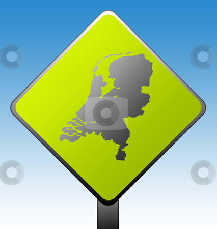 Netherlands road sign stock photo, Black silhouetted map of Netherlands on green diamond shaped road sign with gradient blue sky background. by Martin Crowdy
