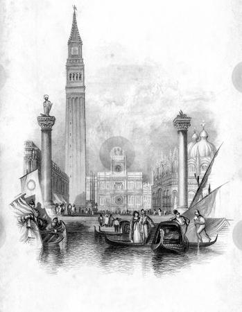 St Mark's Campanile in Venice stock photo, Vignette of St Mark's Campanile in Venice with Gondolas in foreground, Italy. Engraved by William Miller in 1836, public domain image by virtue of age. by Martin Crowdy