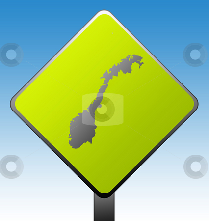 Norway road sign stock photo, Black silhouetted map of Norway on green diamond shaped road sign with gradient blue sky background. by Martin Crowdy