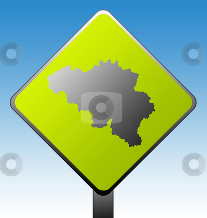 Belgium road sign stock photo, Black silhouetted map of Belgium on green diamond shaped road sign with gradient blue sky background. by Martin Crowdy