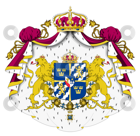 Sweden Coat or Arms stock photo, Sweden coat of arms, seal or national emblem, isolated on white background. by Martin Crowdy