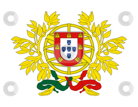 Portugal Coat of Arms stock photo, Portugal, coat of arms, seal or national emblem, isolated on white background. by Martin Crowdy