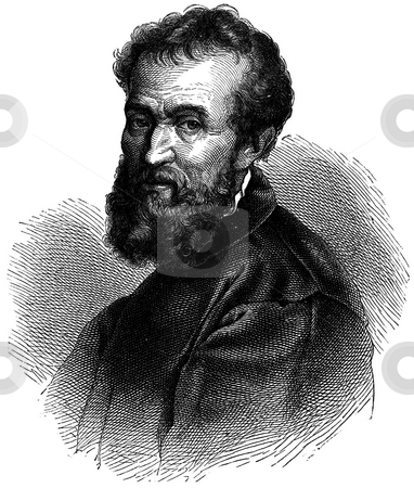 Michelangelo  stock photo, Portrit of Italian Renaissance artist Michelangelo with white background. Sourced from book by G.F.Rodwell,  by Martin Crowdy