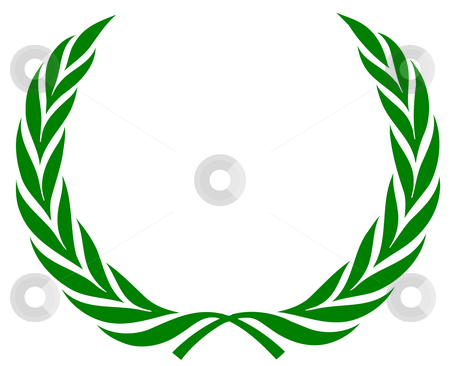 Laurel wreath stock photo, Green laurel wreath isolated on a white background. by Martin Crowdy