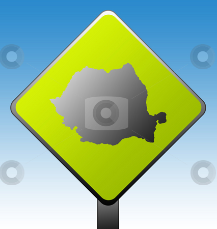 Romania road sign stock photo, Black silhouetted map of Romania on green diamond shaped road sign with gradient blue sky background. by Martin Crowdy