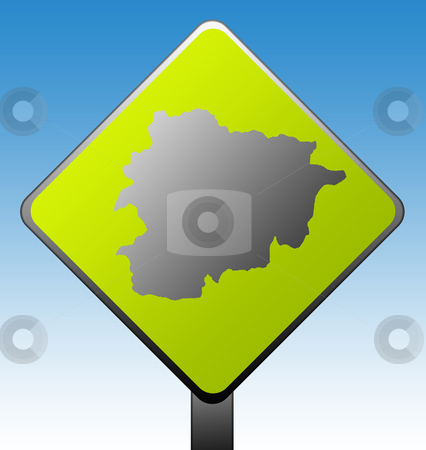 Andorra road sign stock photo, Black silhouetted map of Andorra on green diamond shaped road sign with gradient blue sky background. by Martin Crowdy