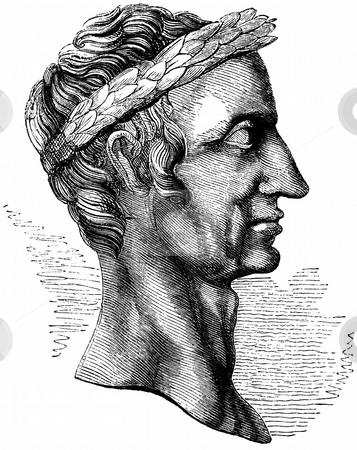 Julius Caesar stock photo, Side portrait of Roman Emperor Julius caesar with laurel leaves, isolated on white background. Engraving sourced from book Chales Knight,