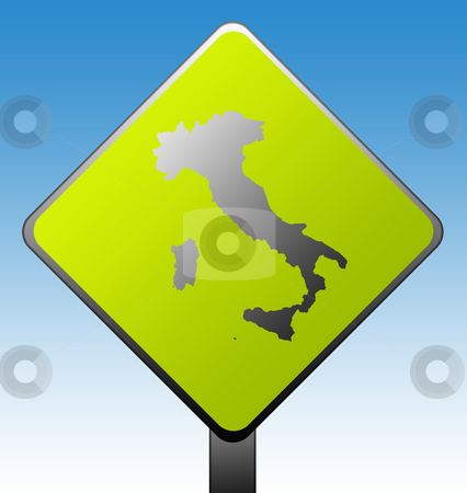 Italy road sign stock photo, Black silhouetted map of Italy on green diamond shaped road sign with gradient blue sky background. by Martin Crowdy