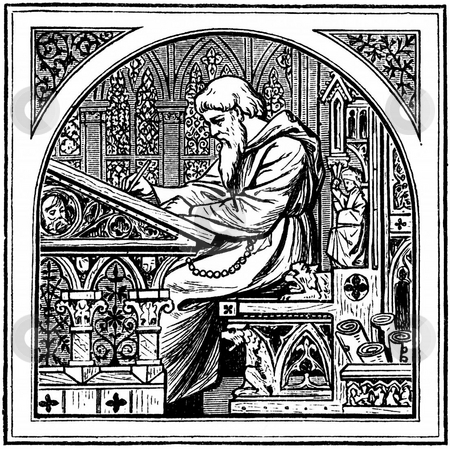 Medieva monk writing at desk stock photo, Engraving of bearded medieval monk writing at desk in frame. Souced from book by G. F. Rodwell,  by Martin Crowdy