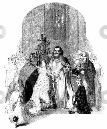 Coronation of Henry IV stock photo, Engraving of coronation of King Henry IV of England in Westminster Abbey, 1399. Sourced from book by Charles Knight,