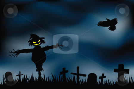 Halloween background stock vector clipart, Halloween background with evil scarecrow in graveyard. by Mtkang