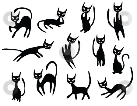 Cat cartoons set stock vector clipart, Cat cartoons set, black cats with different postures. by Mtkang