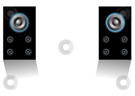 Loudspeakers stock vector clipart, Editable vector background - Two loudspeakers on white background by GPimages