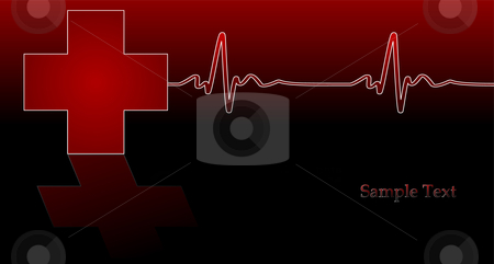 Red Cross stock vector clipart, Editable vector background - heartbeat and red cross on reflective surface by GPimages