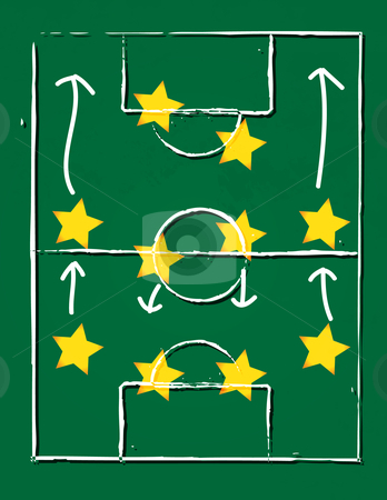 Football pitch - eps10 stock vector clipart, Vector illustration of a football pitch  with 4-4-2 player formation - eps10 by GPimages