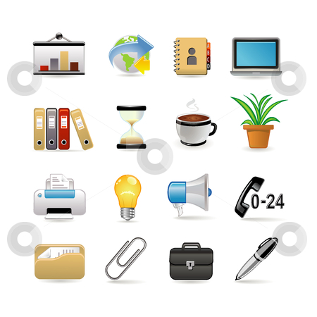 Office set stock vector clipart, Business and office icon set. Vector illustration by Ika
