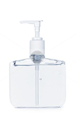 Hand sanitizer pump bottle stock photo, Isolated hand sanitizer soap dispenser on white background by Elena Elisseeva