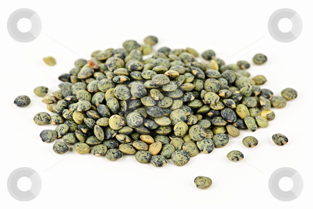Pile of uncooked French lentils stock photo, Heap of raw french green lentils isolated on white background by Elena Elisseeva