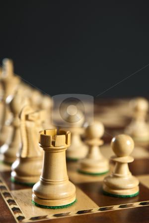 White chess pieces on board stock photo, Close up of white chess pieces on wooden chessboard by Elena Elisseeva