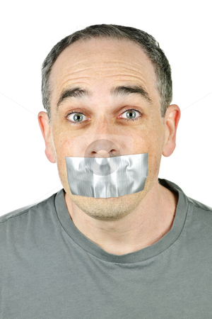 Man with duct tape on mouth stock photo, Portrait of man with duct tape over his mouth by Elena Elisseeva